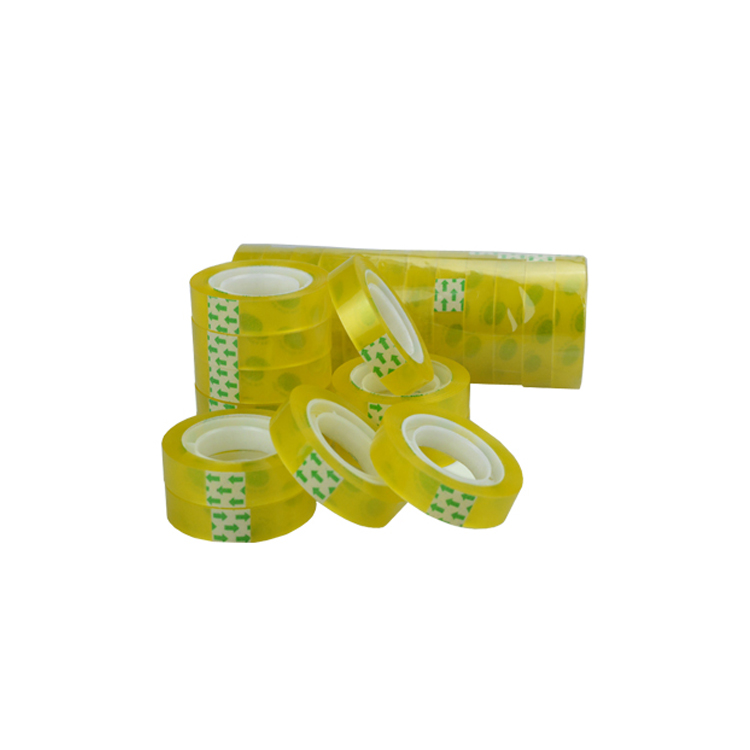 Yellow color water acrylic adhesive BOPP stationery packing tape thickness 35 - 50 micron