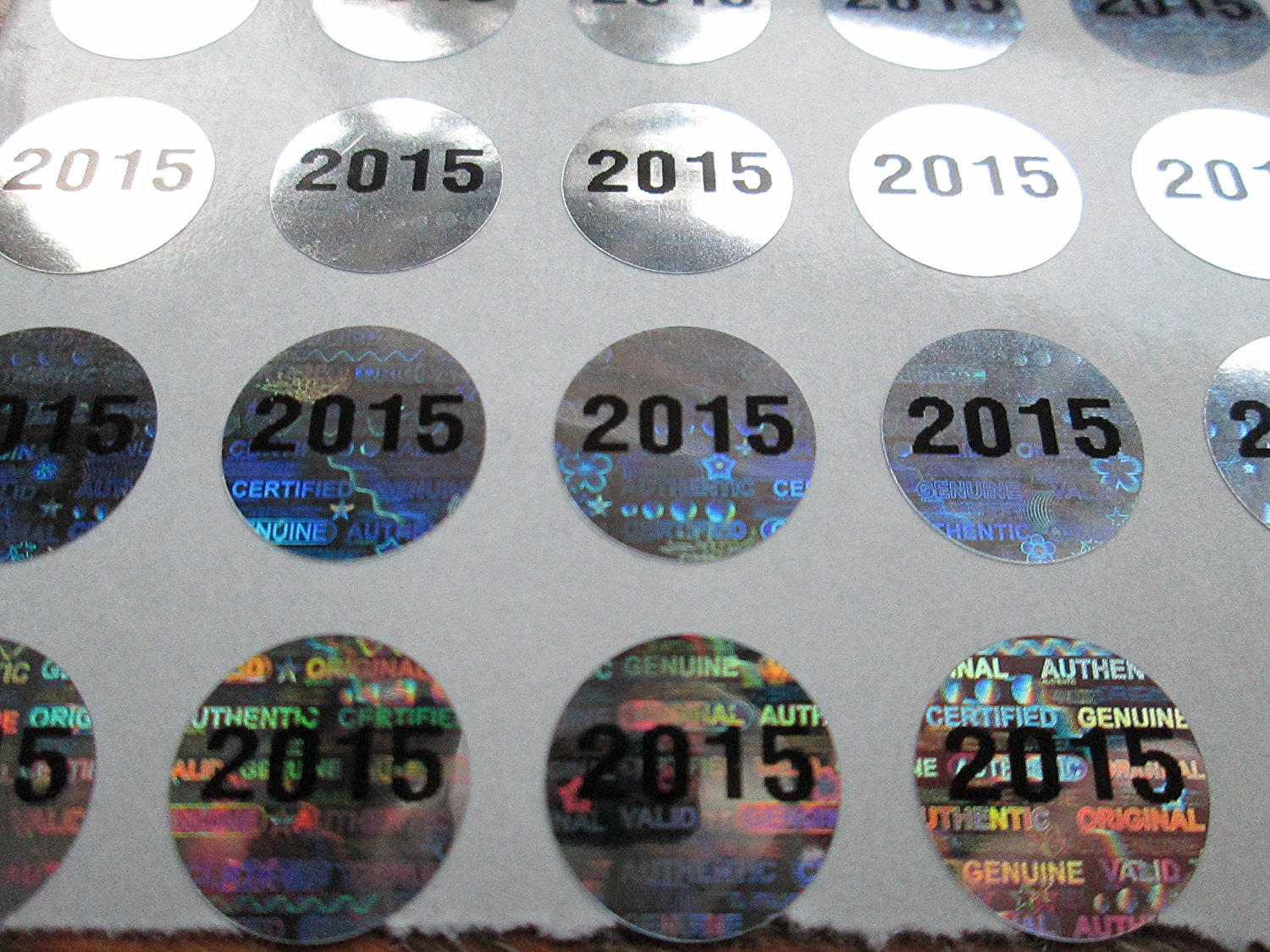 500 2015 bright silver hologram tamper evident high security labels stickers 5 inch round