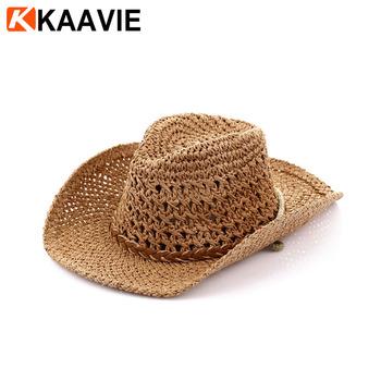 Guangzhou Factory Bulk Sale Cheap Crochet Raffia Straw Cowboy Hat