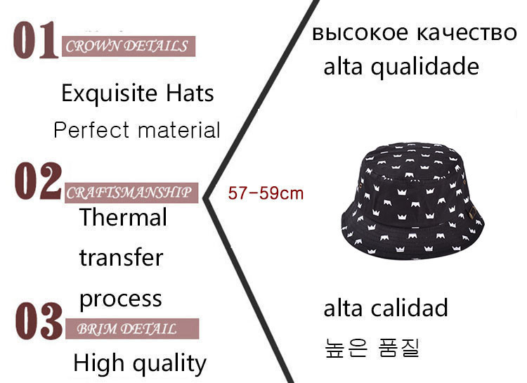 Wholesale-Fashion Summer Graffiti Crown Bucket Hat Hip Hop Outdoor  Fisherman Fishing Hat For Men And Women Hiking Sun Cap Girls Boys