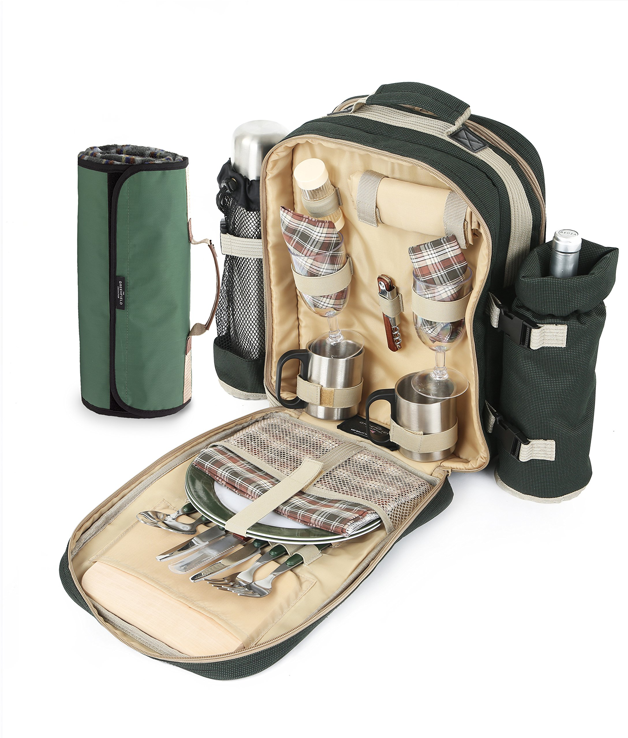 Get Quotations · Greenfield Collection Super Deluxe Forest Green Picnic  Backpack Hamper for Two People with Matching Picnic Blanket b2cce62ac4b3a