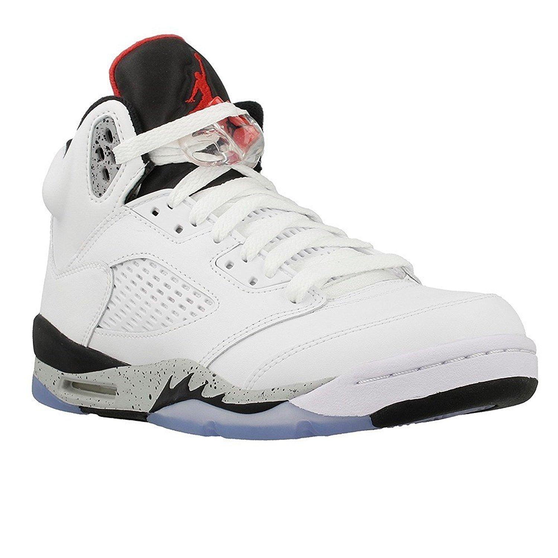 "Jordan Retro 5"" Cement White/University Red-Black (Big Kid)"