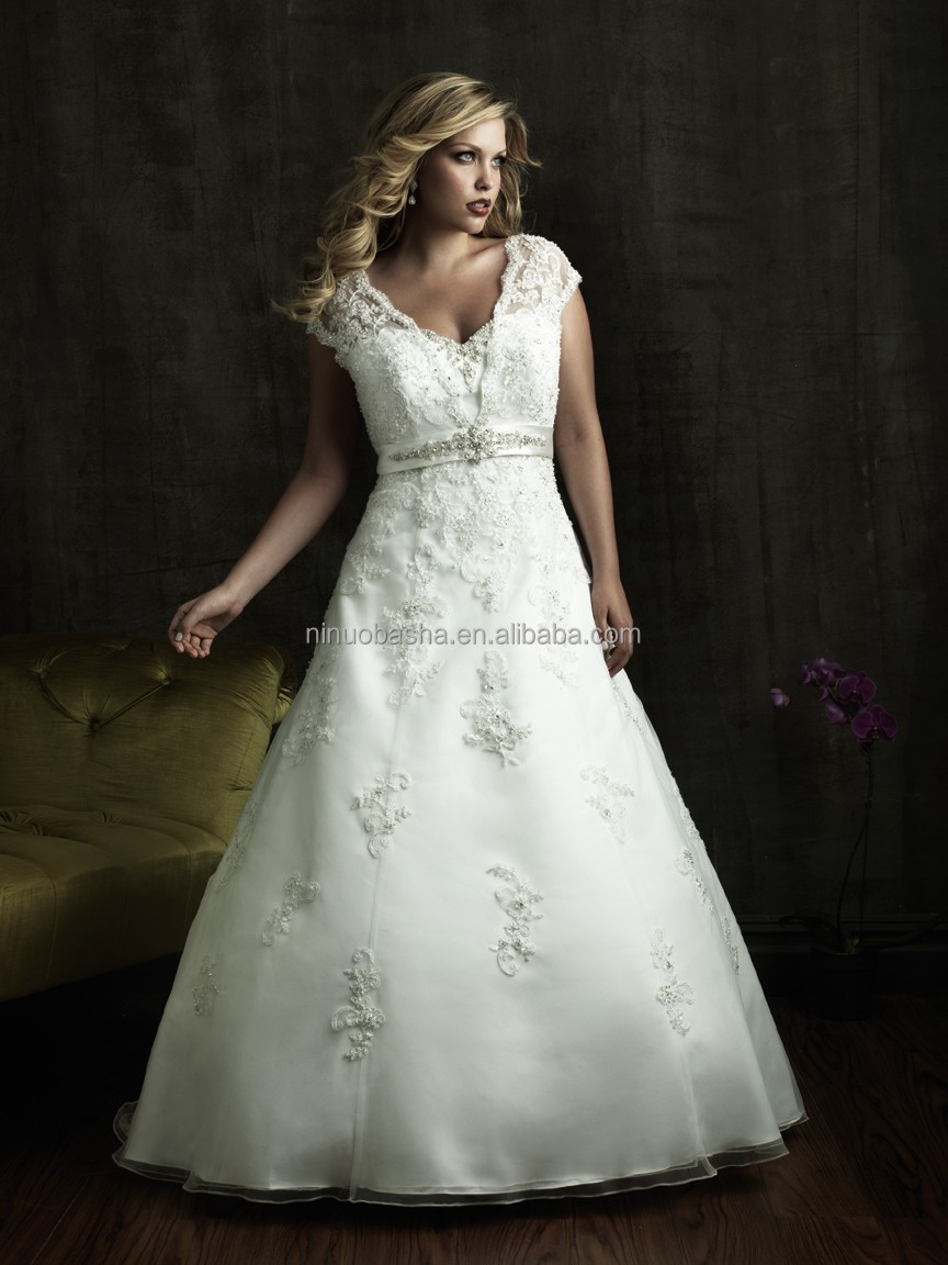 Organza Satin Plus Size Wedding Dress 2014 Vneck Cap Sleeve Lace