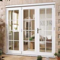 CHINA WHITE 8 PANE EXTERIOR FRENCH WOOD DOORS WITH SIDE FRAME RIGHT, FULLY DECORATED