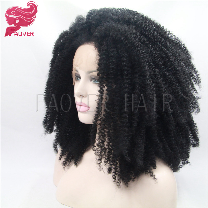 Afro Kinky Curly Hair Natural Black Color Kinky Curly Heat Resistant Glueless Synthetic Lace Front Wigs