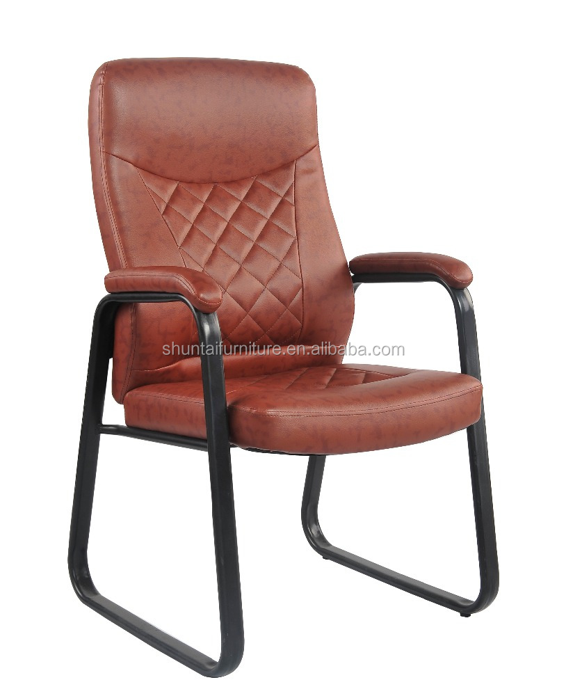 high back conference chair with armrest PVC covered