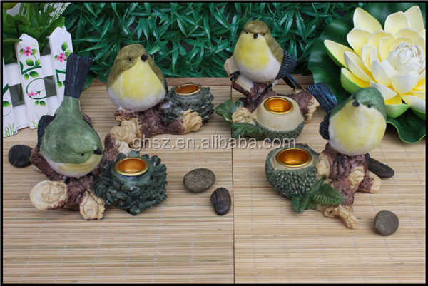 Bespoke garden decor crafts gifts polyresin candleholder lovely bird candle sticks for sale