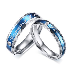 Fashion CZ Zircon Blue With Silver Stainless Steel Custom Ring For Women And Men
