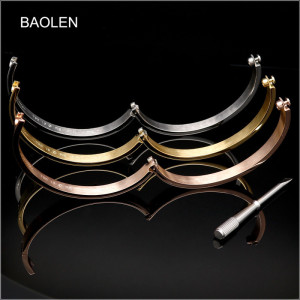 Exquisite Titanium Stainless Steel Logo Love Bracelet Women Men Cuff Bangle Rose Gold Forever Wedding Gift Screwdriver