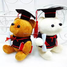 Graduation bear D.J Plush soft teddy bear for students sitting bear with hat