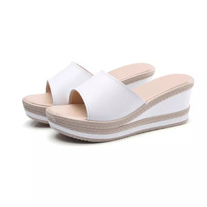 new design ladies summer jelly shoes high heel wedge sandals