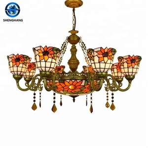 China new fashion design chandelier lamps with metal base lamp parts and stained glass shade, more popular ceiling lamp