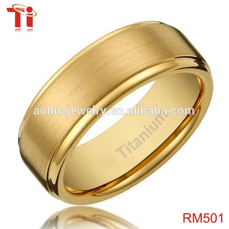 Wonderful Latest Gold Ring Designs,8mm Men's Titanium Gold-plated Ring  LV63