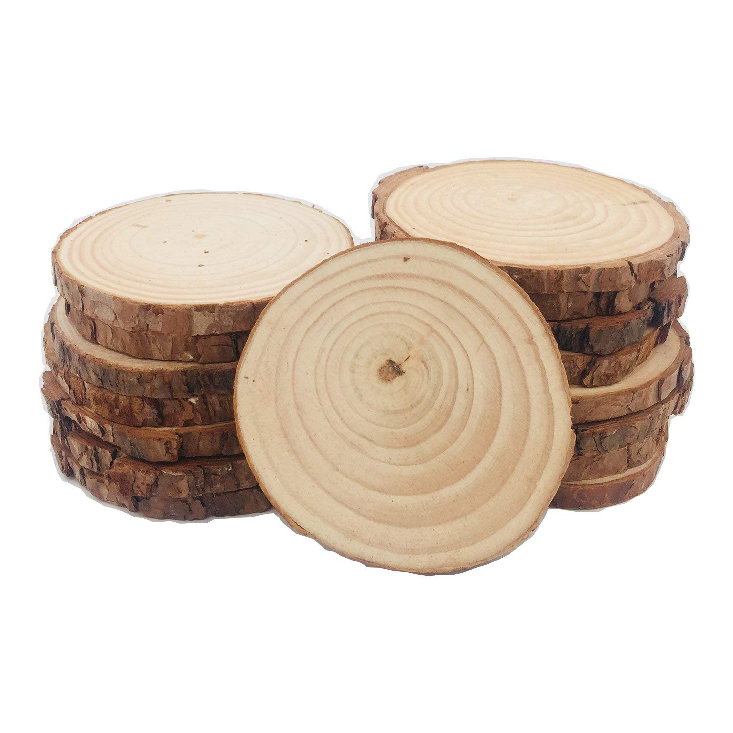 Binsn 12pcs 3.5-4 inch Unfinished Natural Wood Slices with Bark for Crafts Tree Bark Log Discs for DIY Crafts Christmas Rustic Wedding Christmas Ornaments by