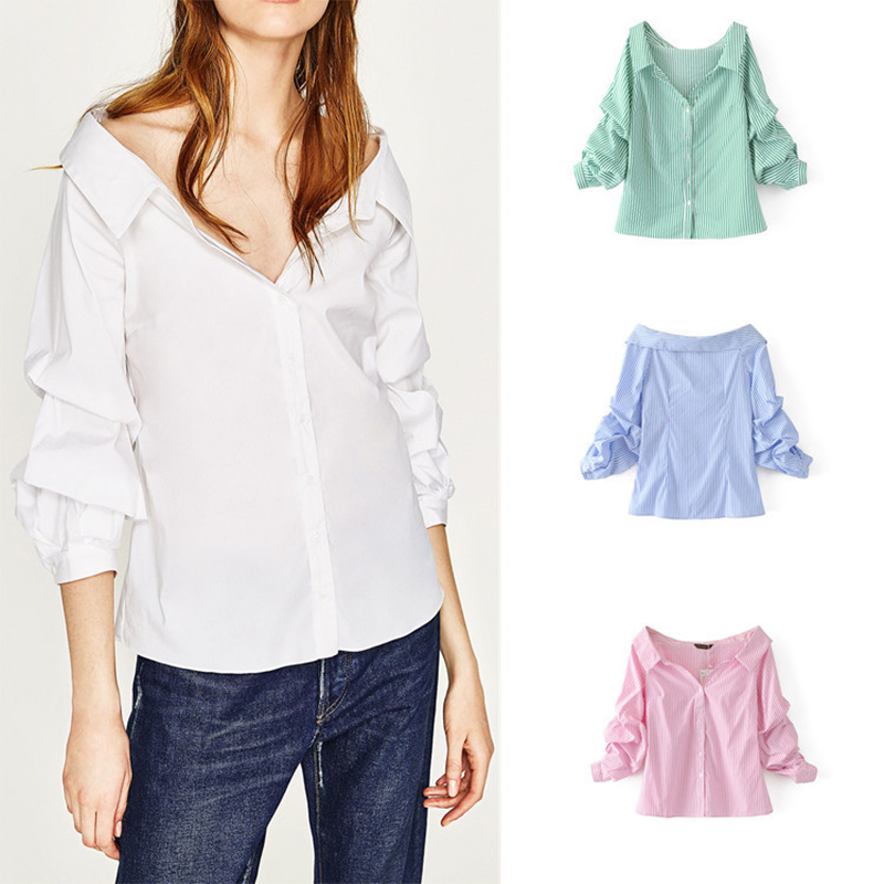 New York Sweet T Shirt For Fashion Women And Ladies Dreamy Draped Sleeve Off-Shoulder Women Blouses