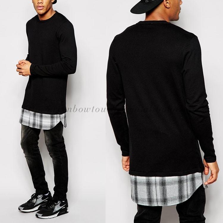 2015 Custom Oem Plaid Scoop Bottom Longline Tshirt Men