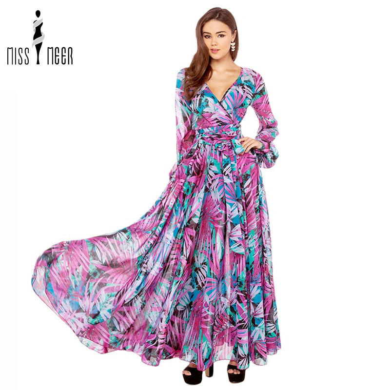 778f82bee6d Get Quotations · 2015 Women Casual Vintage Long New Multicolor V Neck Long  Sleeve Floral Maxi Dress Full Length