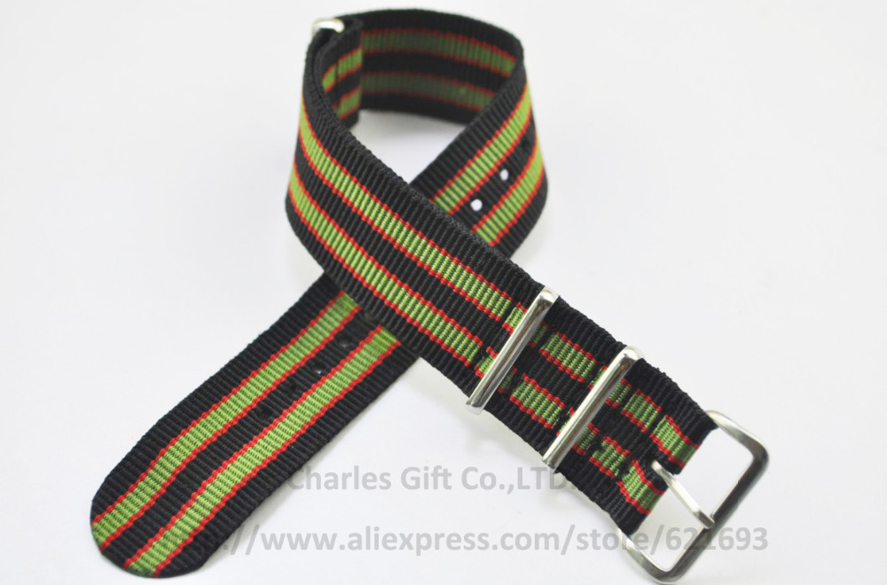 Hot New 1PCS High Quality 22MM Nylon Watch Strap Band NATO Straps Zulu straps Multicolor Waterproof Watch Strap