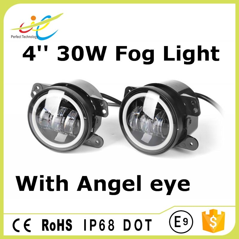 Best selling items car led fog lamp 4inch 30w daytime running light fog light with halo ring