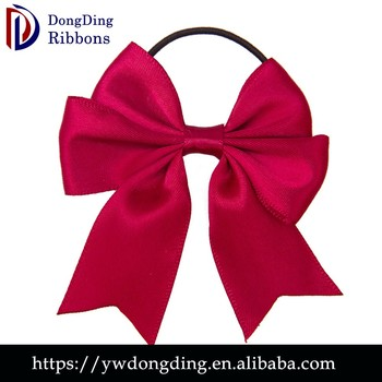 china export pre made red ribbon bow with elastic loop gift satin