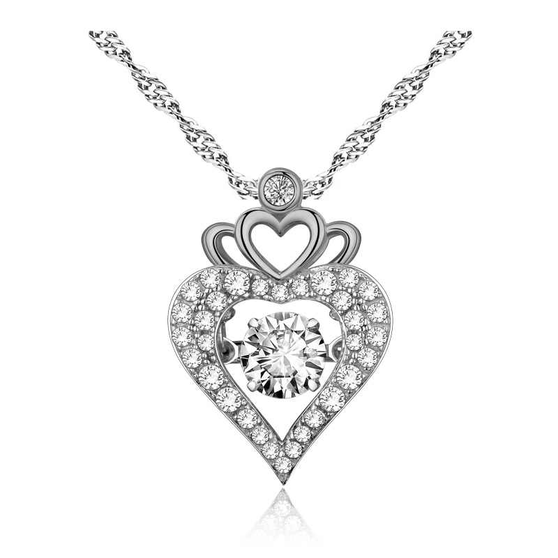 2018 Luxury fashion New heart-shaped crown zircon pendant necklace Valentine's Day gift