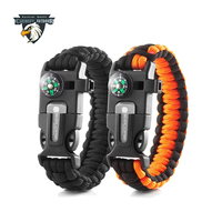 High Quality Multi Survival Gear Escape Paracord Bracelet With Flint / Whistle / Compass / Scraper For Outdoor Sports