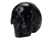 arts and craft black obsidian carving skull, high polished carved skull