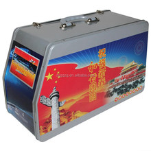 metal tinplate material tooling tin box with plastic handle and lock accept custom print