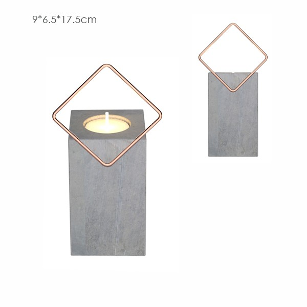 Light grey newly design square candle jar with harware handle