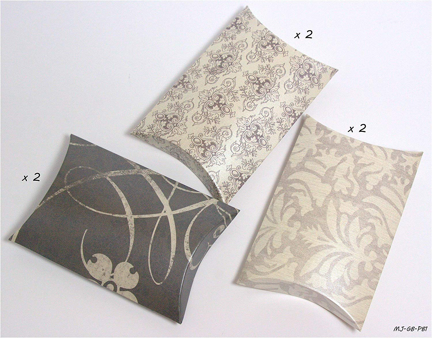 Pillow Gift Boxes - Premium Decorative Printed Cardstock - Set of 6 FOR LIGHT WEIGHT items