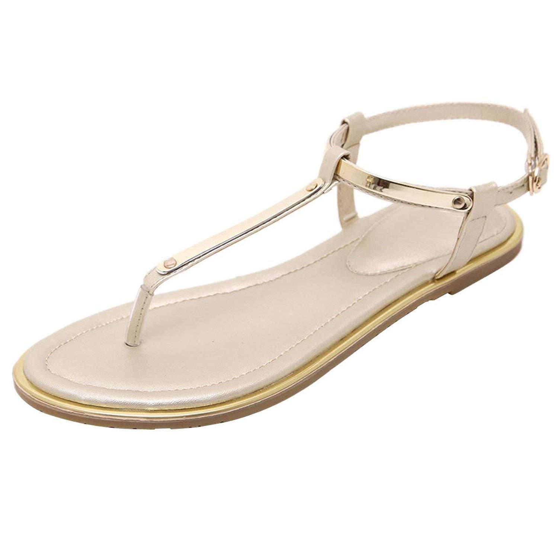 aa0464e5005c Get Quotations · ThusFar Women s Adjustable Ankle Strap T-Strap Flip Flops  Summer Thong Flat Sandals
