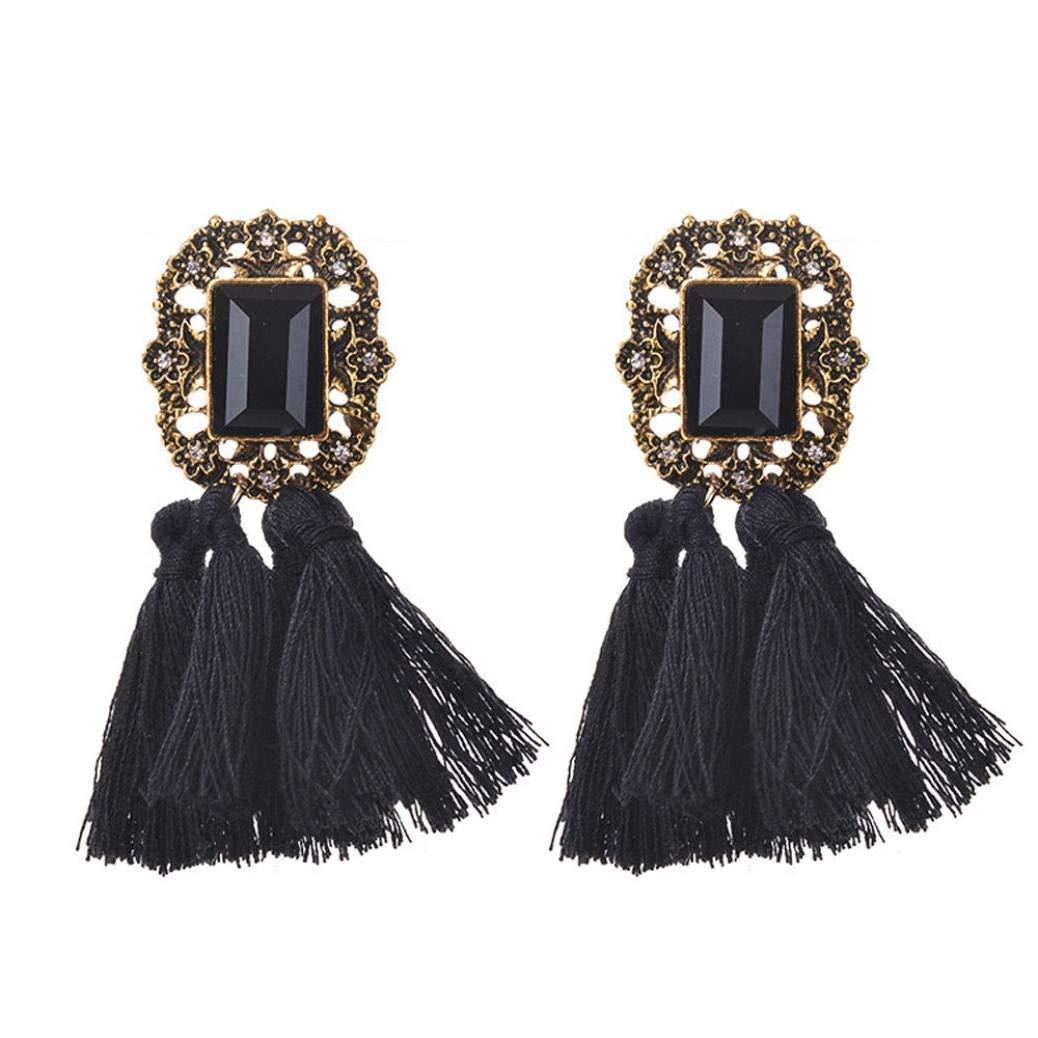 Tassel Earrings,ManxiVoo Bohemian Rhinestones Tassel Dangle Earrings Hook Stud Ear Drop Jewelry