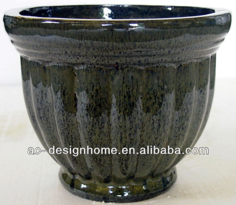 S/3 GRANIT DK. GREEN ROUND OUTDOOR GLAZED CERAMIC PLANTER