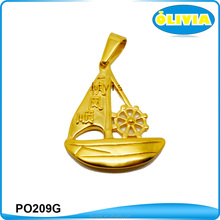 Olivia New Design good fortune marks gold boat charm chinese character pendants
