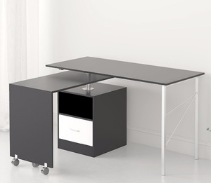 L-Shaped Expandable Black Computer Workstation Corner Desk with Storage in Black Colour modern office table