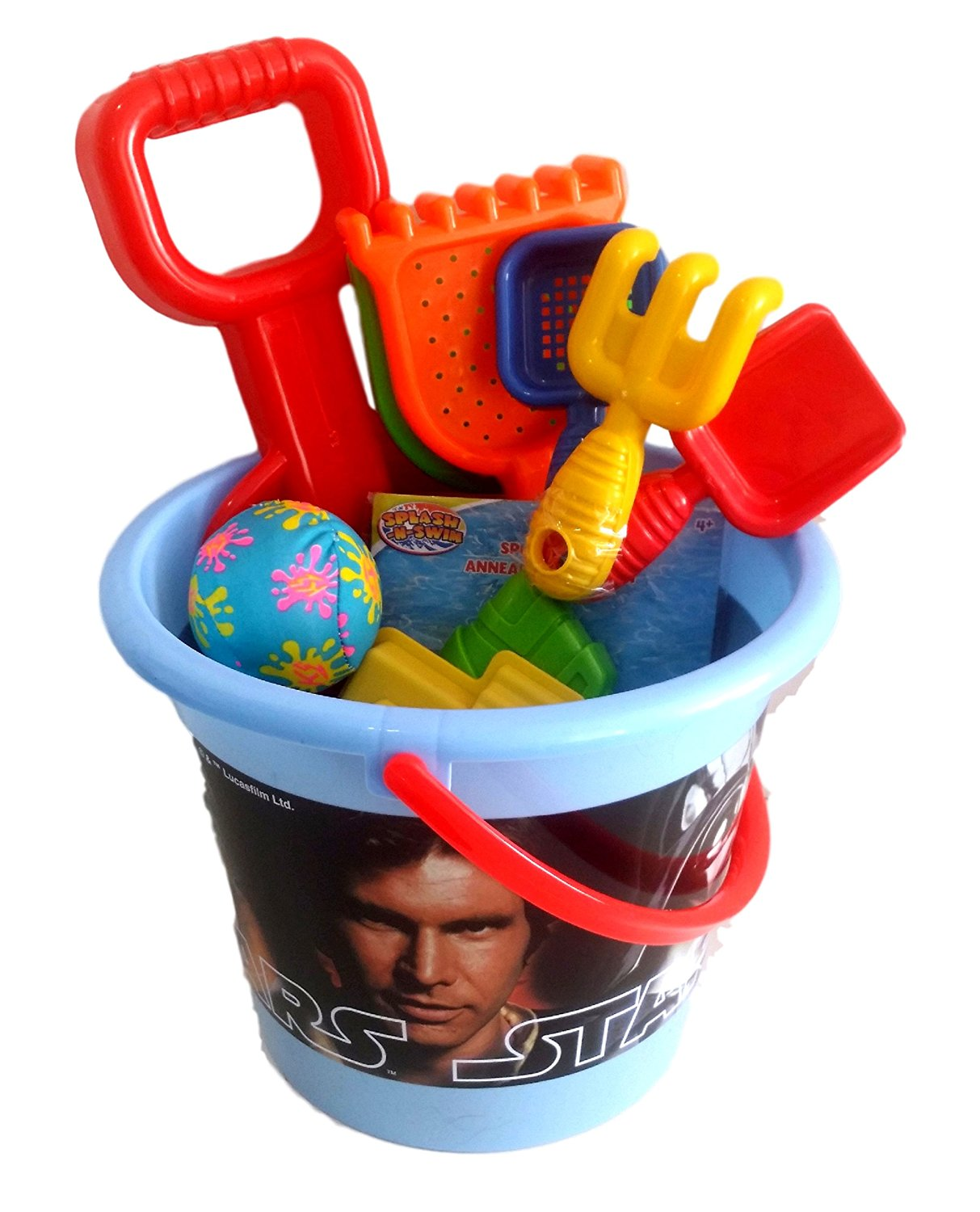 Star Wars Sand Bucket.,Jumbo Star Wars Sand Pail filled with Sand Toys, Pool Toys, Beach Toys 11 Pieces!