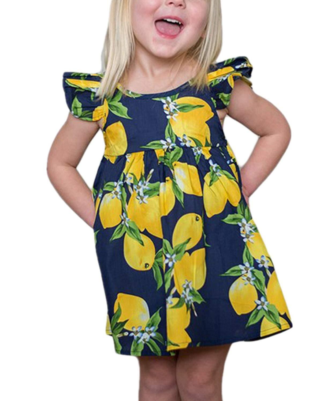 d2dfdef4444c Get Quotations · KIDVOVOU Little Girls Ruffle Lemon Floral Dress Summer  Casual Toddler Kids Sundress