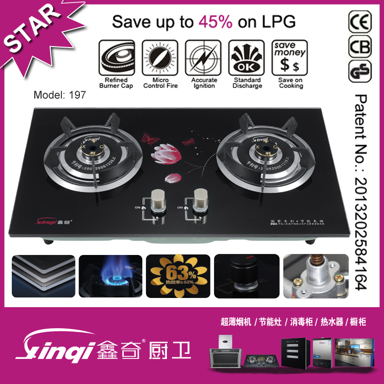Tempered glass 2 burner gas stove/gas cooker/ gas cooktop