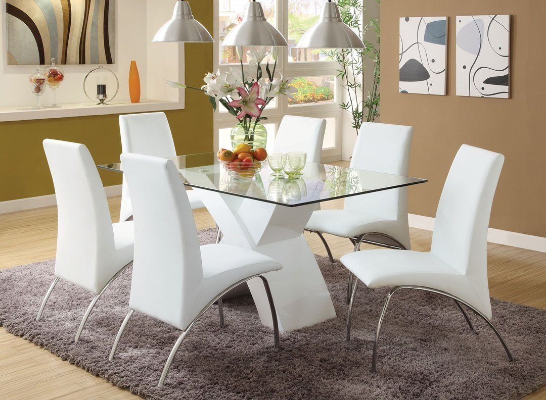 Superbe Get Quotations · 7 Pc. Wailoa Contemporary Style Glass Table Top And White  Finish X Shaped Base