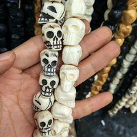 OB078 Wholesale Detail Hand Carved Bone black white Skull beads