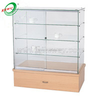 wooden base glass display glass counter