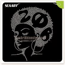 Custom Iron on Nailhead Hair Black Girls Rock Rhinestones Motif Crystal Afro Girl Appliques for Women T shirts