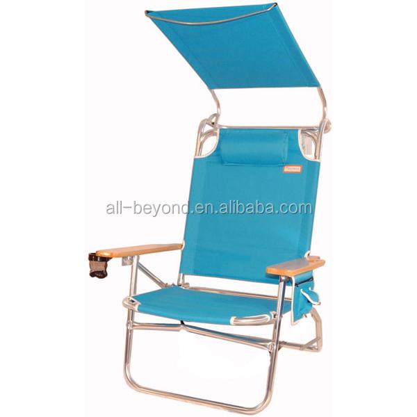 Hierro plegable sombrilla de playa silla con portavasos - Sillas plegables de playa ...