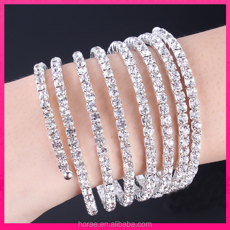 5 Row rose pink bling austrian crystal AB rhinestone metal bangle bracelet