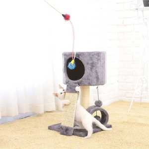 Gray cat scrather tree and stairs,wooden cat furniture tree with scratcher