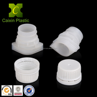 Plastic material reclosable spout cover screw cap for squeeze refillable oil pouch/fill and seal spouted pouch with carry handle