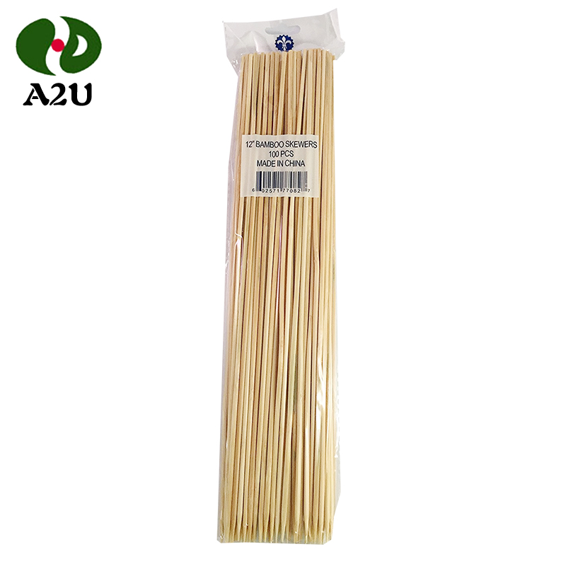 China Natural Long Thick Bamboo Skewer Sticks