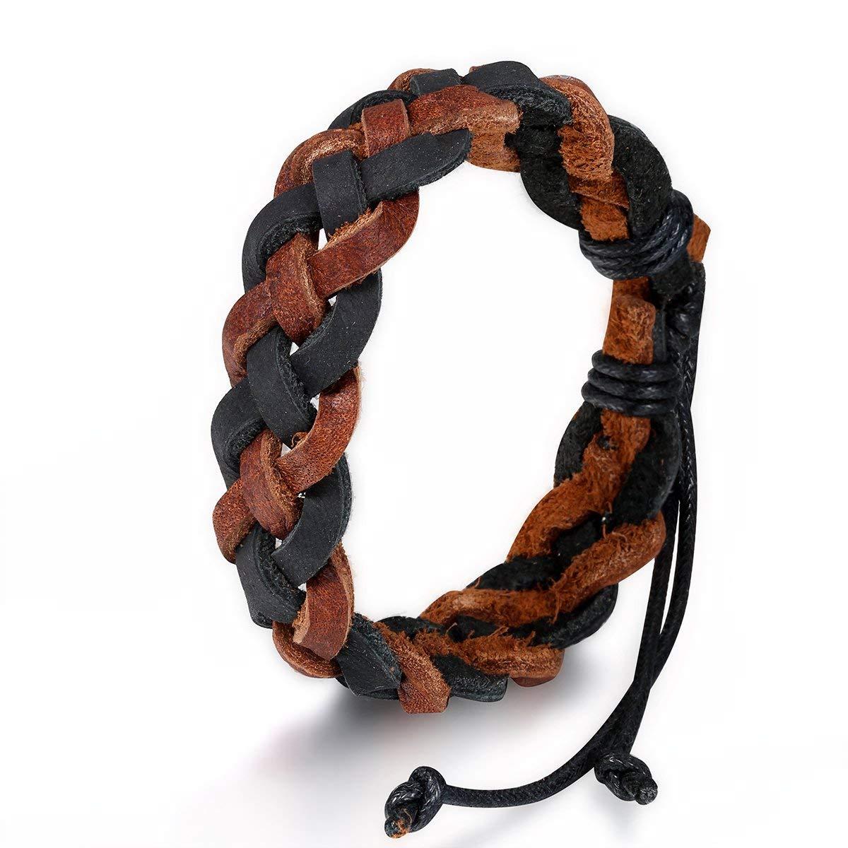 Flongo Men's Woven Braided Leather Rope Wrap Cuff Bracelet, Fit 7.5-10 inch Wrist