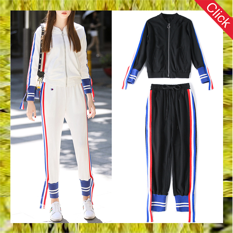 Custom made female slim fit exerciser sportswear women's sweat jogging suit for ladies striped sports tracksuit set