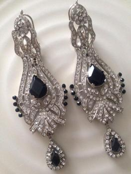 Silver With Black Rhinestone Earrings Salwar Bellydance Stone Christmax